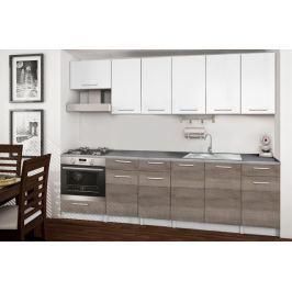Basic - Kuchyňský blok E, 260 cm (bílá, trufle, titan) Rovné