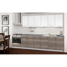 Basic - Kuchyňský blok E, 300/240 cm (bílá, trufle, titan) Rovné