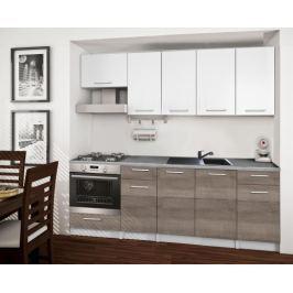 Basic - Kuchyňský blok B, 220 cm (bílá, trufle, titan) Rovné