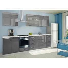 Mondeo - Kuchyňský blok B 240/300 cm (šedá, mramor)