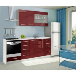 Mondeo - Kuchyňský blok C 160/220 cm (červená, mramor)