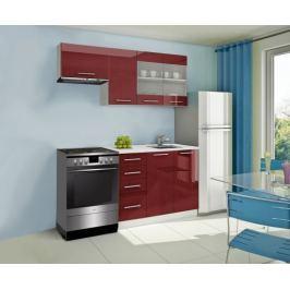 Mondeo - Kuchyňský blok F 180/120 cm (červená, mramor)