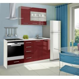 Mondeo - Kuchyňský blok E 120/180 cm (červená, mramor)