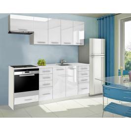 Mondeo - Kuchyňský blok B 220 cm (bílá, mramor)