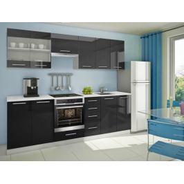 Mondeo - Kuchyňský blok E 260 cm (černá, mramor)