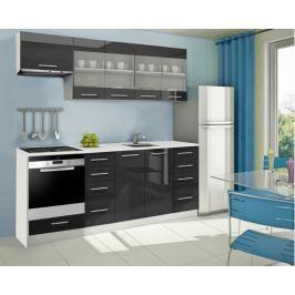 Mondeo - Kuchyňský blok F 220 cm (černá, mramor)