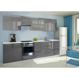 Mondeo - Kuchyňský blok F 300 cm (šedá, mramor)