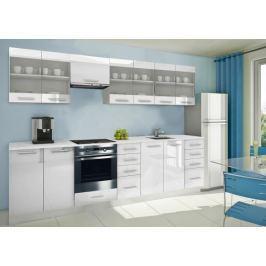 Mondeo - Kuchyňský blok H 300 cm (bílá, mramor)