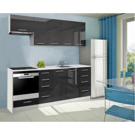 Mondeo - Kuchyňský blok B 220 cm (černá, mramor)