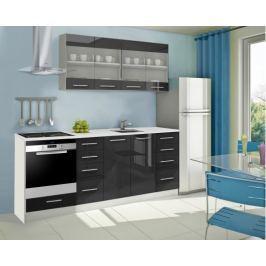 Mondeo - Kuchyňský blok E 160/220 cm (černá, mramor)