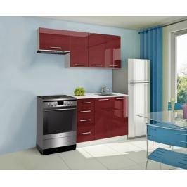 Mondeo - Kuchyňský blok A 180/120 cm (červená, mramor)