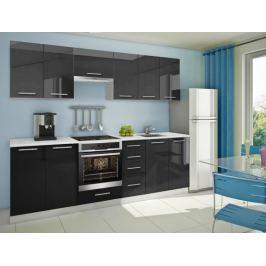 Mondeo - Kuchyňský blok D 260 cm (černá, mramor)