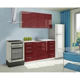 Mondeo - Kuchyňský blok A 160 cm (červená, mramor)