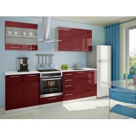 Mondeo - Kuchyňský blok B 200/260 cm (červená, mramor)