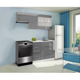 Mondeo - Kuchyňský blok F 180/120 cm (šedá, mramor)