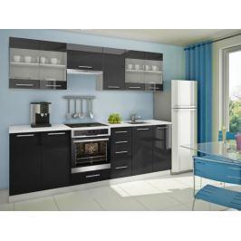 Mondeo - Kuchyňský blok F 260 cm (černá, mramor)