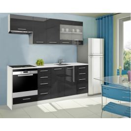 Mondeo - Kuchyňský blok D 220 cm (černá, mramor)
