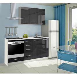 Mondeo - Kuchyňský blok C 120/180 cm (černá, mramor)