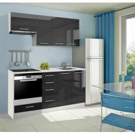 Mondeo - Kuchyňský blok B 180 cm (černá, mramor)