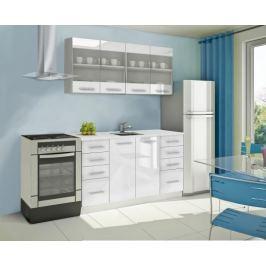 Mondeo - Kuchyňský blok C 160 cm (bílá, mramor)