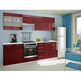 Mondeo - Kuchyňský blok E 260 cm (červená, mramor)