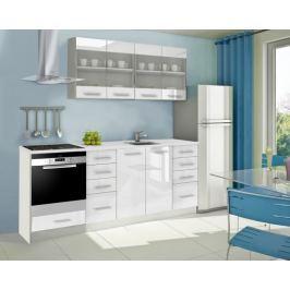 Mondeo - Kuchyňský blok E 160/220 cm (bílá, mramor)