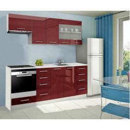 Mondeo - Kuchyňský blok D 220 cm (červená, mramor)