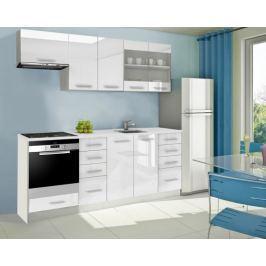 Mondeo - Kuchyňský blok D 220 cm (bílá, mramor)