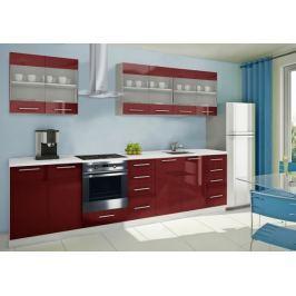Mondeo - Kuchyňský blok D 240/300 cm (červená, mramor)