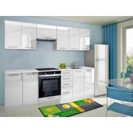 Mondeo - Kuchyňský blok D 260 cm (bílá, mramor)