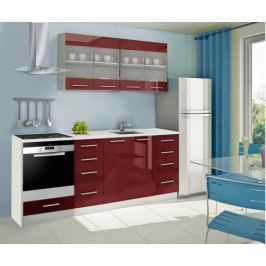 Mondeo - Kuchyňský blok E 160/220 cm (červená, mramor)