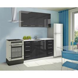 Mondeo - Kuchyňský blok A 160 cm (černá, mramor)