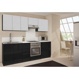 Polo 14 - Kuchyňský blok (bílá / černá HG / bílá HG)