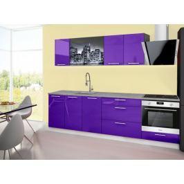 Emilia 2 - Kuchyňský blok A, 260cm (fialová, titan, NewYork)
