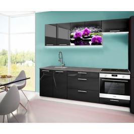 Emilia 2 - Kuchyňský blok A, 220cm (černá, titan, orchidej)