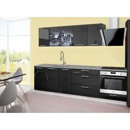 Emilia 2 - Kuchyňský blok A, 260cm (černá, titan, NewYork)