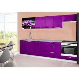 Emilia 2 - Kuchyňský blok D, 280cm (fialová, titan, orchidej)