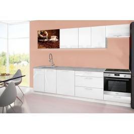 Emilia 2 - Kuchyňský blok D, 280cm (bílá, titan, káva)