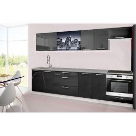 Emilia 2 - Kuchyňský blok H, 300cm (černá, titan, NewYork)