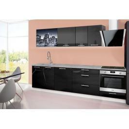 Emilia 2 - Kuchyňský blok B, 280cm (černá, titan, NewYork)