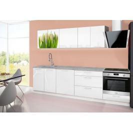 Emilia 2 - Kuchyňský blok B, 280cm (bílá, titan, tulipány)