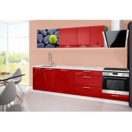 Emilia 2 - Kuchyňský blok B, 280cm (červená, mramor, kameny)