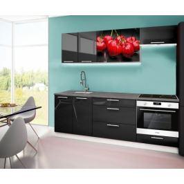Emilia 2 - Kuchyňský blok A, 220cm (černá, titan, třešně)