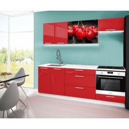 Emilia 2 - Kuchyňský blok A, 220cm (červená, mramor, třešně)