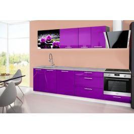 Emilia 2 - Kuchyňský blok B, 280cm (fialová, titan, orchidej)