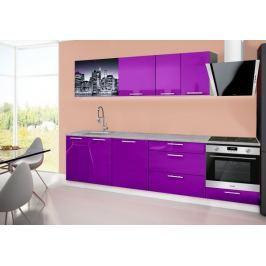 Emilia 2 - Kuchyňský blok B, 280cm (fialová, titan, NewYork)