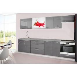 Emilia 2 - Kuchyňský blok H, 300cm (šedá, titan, chilli)
