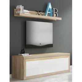 Lino II - TV komoda, závěsná police, RGB (sonoma/bílá lesk)