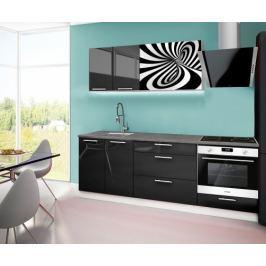 Emilia 2 - kuchyňský blok F 220 cm (černá, pracovní deska - titan)