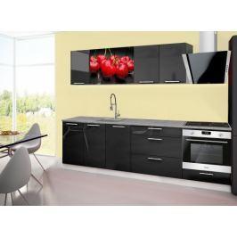 Emilia 2 - kuchyňský blok A 260 cm (černá, pracovní deska - titan)